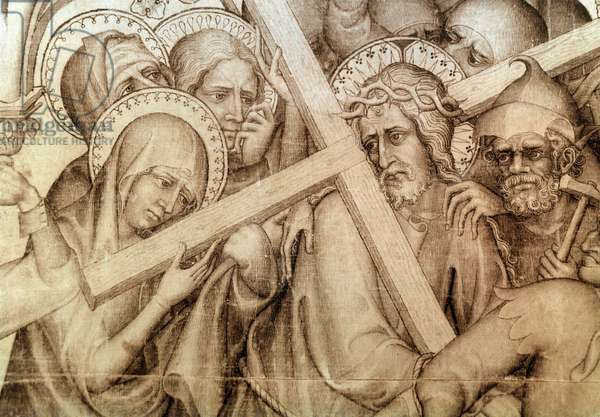 The parement of Narbonne: the Christ carrying his cross (grisaille on silk, 1375-1378)