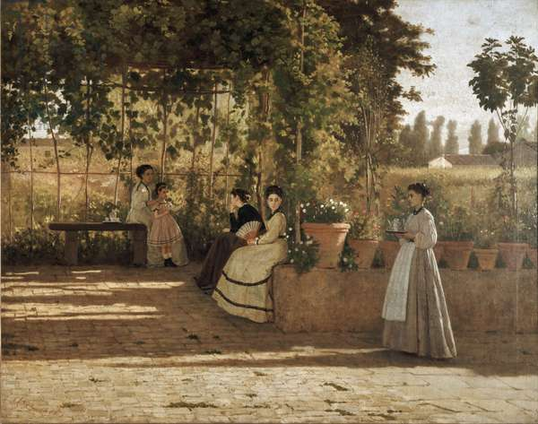 An after noon (the pergola) - Painting by Silvestro Lega (1826-1895), oil on canvas, 75x93.5 cm, 1868. Milano, Pinacoteca di Brera