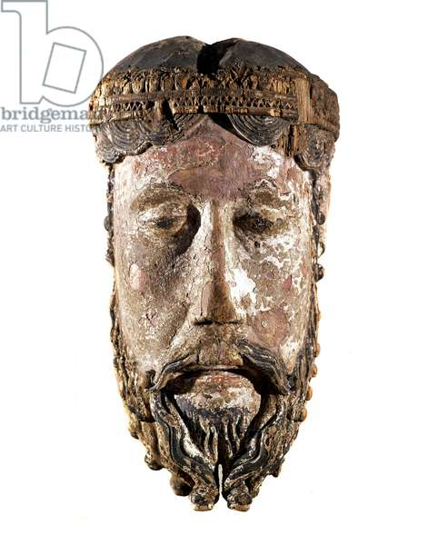 Head of Christ crown Sculpture of painted and golden wood from Lavaudieu (Haute Loire, Haute-Loire), France. 12th century Paris, Louvre Museum