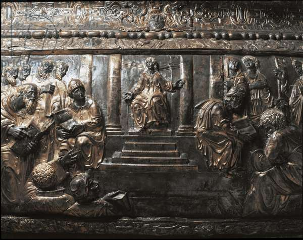 Jesus among the doctors (gilded bronze relief decorating the pulpit of the evangelists, 1585-1599)