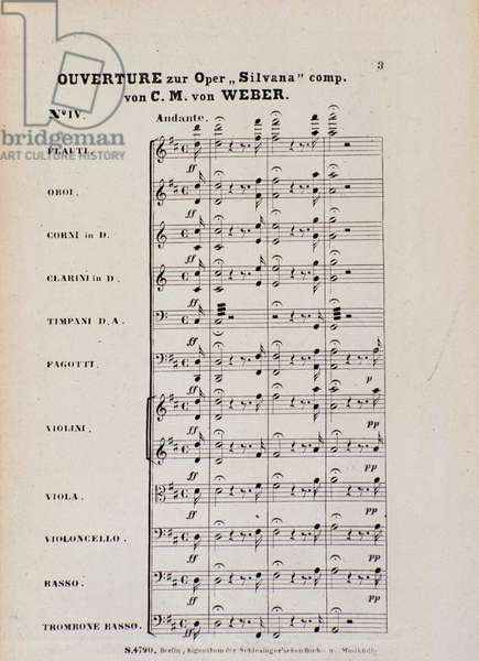 First Page of the Overture for the opera 'Silvana' by Karl Maria von Weber (litho)