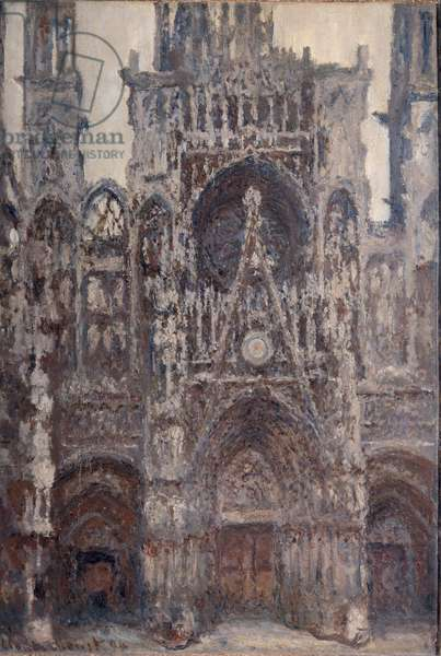 Cathedrale de Rouen, the portal, brown harmony Painting by Claude Monet (1840-1926) 1892 Sun. 1,07x0,73 m Paris, musee d'Orsay - Rouen Cathedral, the Portal, harmony in brown. Painting by Claude Monet (1840-1926) 1892. 1.07 x 0.73 m. Orsay Museum, Paris.