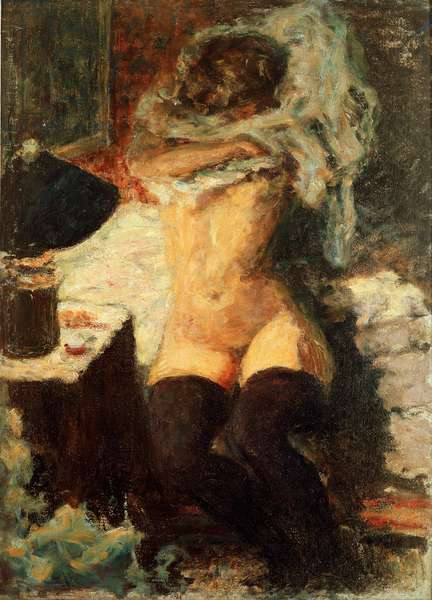 Black stockings Woman undressing. Painting by Pierre Bonnard (1867-1947) 1908 about Dim. 58x43 cm England, collection The Earl of Rosslyn