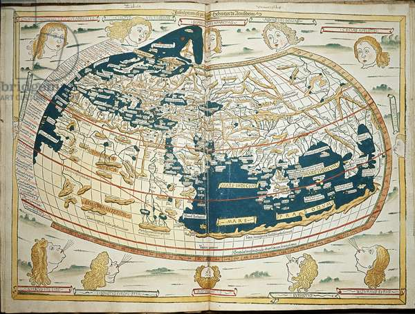 "Map of Claude Ptolemee (Claudius Ptolemaeus, 90-168) showing the flat land without the American continent and the north and south poles, circa 150 - In """" Geografia"""" by Jacobus Angelus - 1482 Greenwich, National maritime museum"