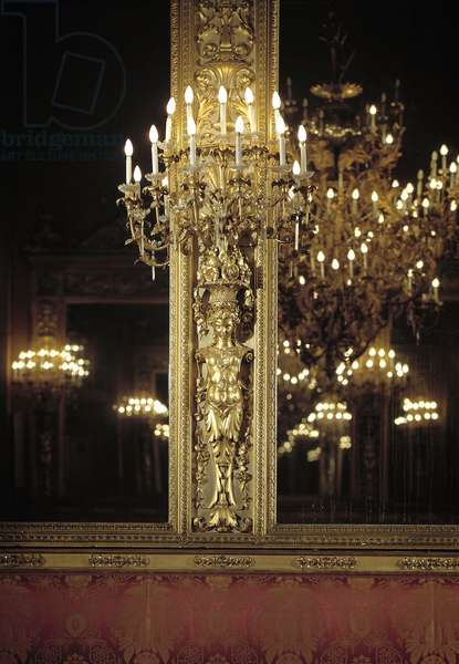 View of the Ice Room designed by the workshop of Paolo Sani (Mirror room) Detail of the chandeliers - Early 19th century Palazzo Borghese, Florence Italy