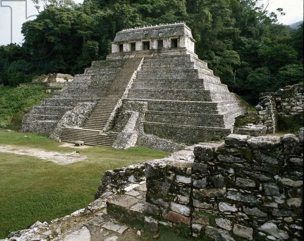 Precolombian Art, Mayan Civilization: View of the Site of Palenque - Temple of Inscriptions 7th-10th Century Chiapas Mexico (Pre-Columbian Art, Maya Civilization: Temple of the Inscriptions 7th-10th Century Palenque Mexico City)