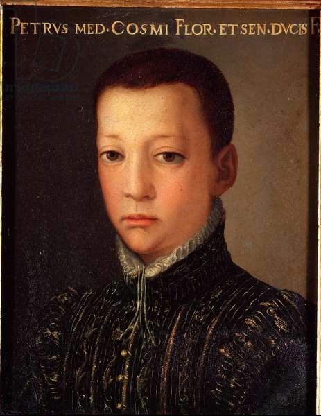 Portrait of Don Pietro de Medicis (1554-1604) (Pietro de 'Medici) Young Man Painting by Allori Angelo di Cosimo dit Bronzino (1503-1572) - 16th century Sun 15x12 cm Palace Medici-Riccardi (Medici Riccardi) Florence
