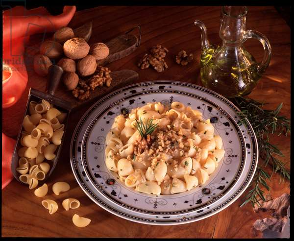 Food still life: plate of italian maccheroni with walnuts