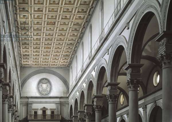 Internal view of the church of San Lorenzo 15th-16th century (Church of St Lawrence) Florence, Italy