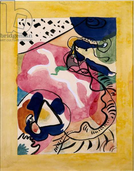 """Expressionism: cover project for the almanac of """""""" The Blue Rider"""""""" (Der Blaue Reiter) by Vassily Kandinsky (or Wassily Kandinski or Kandinskij, 1866-1944). China ink and watercolor. 1911 Dim. 27,7x21,9 cm Munich, Stadt. Gallery in Lenbachhaus"""