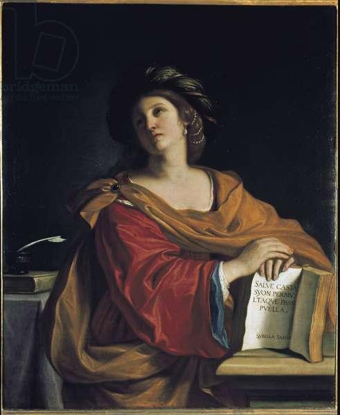 The Samian Sibyl (of Samos) - Painting by Barbieri Giovanni Francesco called The Guerchin (1591-1666), oil on canvas, 116x95.5 cm. Firenze, Galleria degli Uffizi