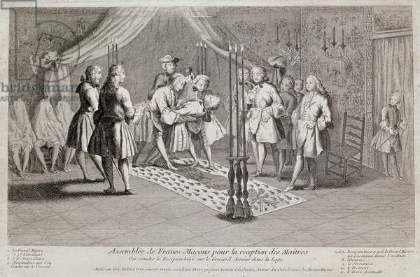 The first and second supervisors lay the recipient on the coffin drawn in the lodge. The Grand Master stands behind them with a mallet. The three men covered with a sheet are recipients who have not yet received the Grand Master's brace. Ceremony Frank Macon. Engraving around 1750