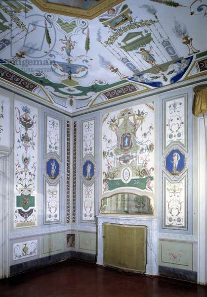 View of a living room decorated with grotesque ornamentation (Grotesque art) 18th century Villa Mansi, Capannori, Italy