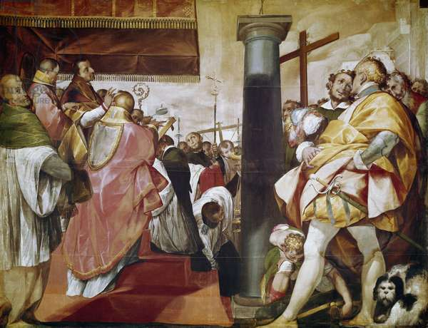 Quadroni de San Carlo: episode of the life of Saint Charles Borromee (1538-1584): erection of the cross in Milan (Quadroni of St Charles: life and miracles of St Charles Borromeo: erection of cross in Milan) Painting by Cerano (Giovan Battista Crespi) (1567/8-1632) 1603 Nave of the Cathedral (Duomo) of Milan Italy