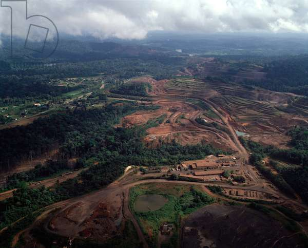 Aerial view of manganese mines in Serra do Navio, north of Macapa, Brazil, 1983 - Aerial view of manganese mines in Serra do Navio, North of Macapa Brazil, 1983 - Photography