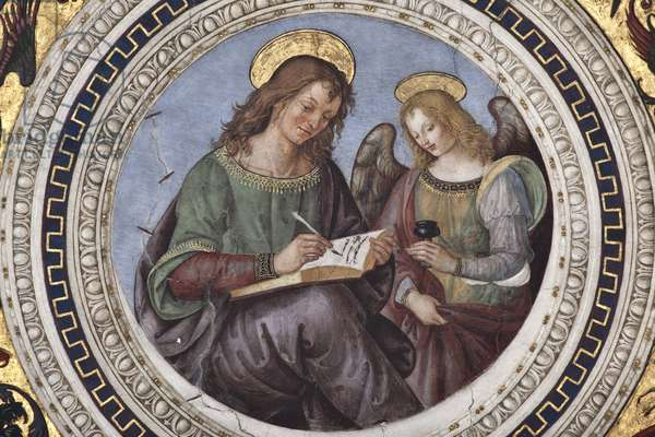 """The Coronation of the Virgin """""""" The Four Evangelists"""""""" """""""" The Sibyls"""""""" and """""""" the Doctors of the Church"""""""" Detail depicting Saint Matthew (Matthew) the Evangelist (St Matthew) - Voute du chorus realised by Pinturicchio (Bernardino di Betto) (1454-1513) - 1508-1510 polica of Santa Maria del polo (Church of St. Mary of the People), Rome"""