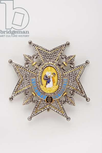 Kingdom of the Two Sicilies - Royal House of the Two Sicilies: plate of the Order of Charles III (Spain) - beginning of the 19th century - Gold, silver, marcasite and emals - D 8.5 cm; weight 60 g - Private collection