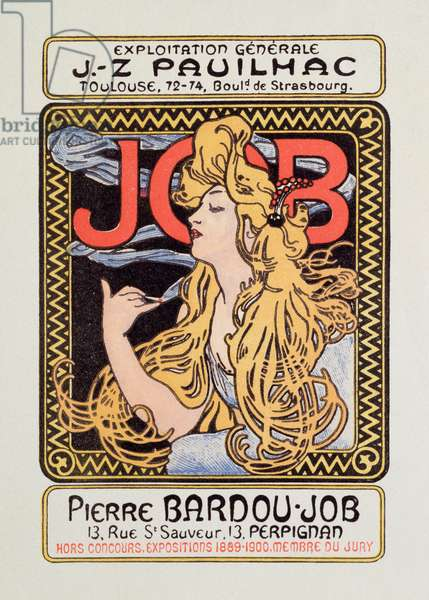 Advertising poster for cigarette paper Job created by Alphonse Mucha (1860-1939) 1900 - Sun 12x8 cm Advertising poster for cigarette paper Job released by Alphonse Mucha, 1900 - Private collection