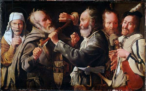 Brawl between musicians (oil on canvas, 17th century)