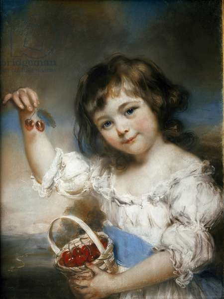 The Cherry Child Painting by John Russell (1745-1806) Sun. 0,61x0,42 m Paris, Musee du Louvre