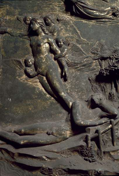 Creation of Eve from the Adam Coast. Detail of the Oriental Door called Paradise, carving, 1424-1452