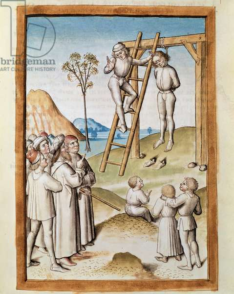 """Miniature hanging scene taken from a German translation of the fables of """"Kalila (Calila) and Dimna"""" by Bidpai. (ms. 1389, fol. 117) around 1480 Chantilly, musee Conde"""