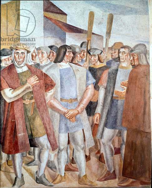 The Discovery of America - Detail of the Crew of Christopher Columbus - Painting by Daniel Vasquez Diaz (1882-1969), 1927-1930 - Fresco - Palos de la Frontera, Monastere de La Rabida