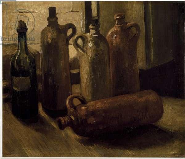 Still Life Bottles. Painting by Vincent Van Gogh (1853-1890) Kunsthistorisches Museum, Neue Galerie Vienna