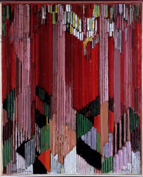 Study for the Language of Verticals Painting by Francois Kupka (Frantisek Kupka, 1871-1957), 1911 Oil on canvas Dim: 0.78 X 0.63m Private collection
