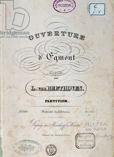 First page of the score for stage music Egmont, Opus 84, by Ludwig van Beethoven, 1831