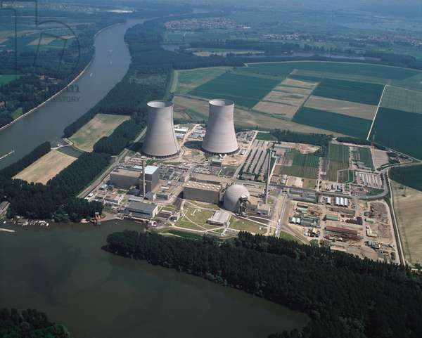 Aerial view of Philippsburg Nuclear Power Plant, 1990 - Photography
