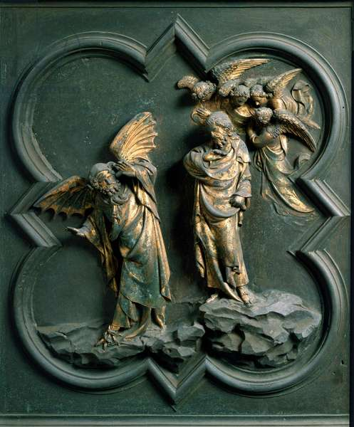 """North Gate (called Gate of the Cross, in the North), external detail: """""""" the temptation of Christ"""""""" Bronze sculpture made by Lorenzo Ghiberti (1378-1455), 1424. Baptistere San Giovanni, Florence"""