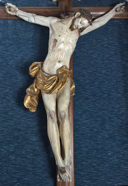 Processional Crucifix (Dead Christ), 1714 (carved and painted wood)