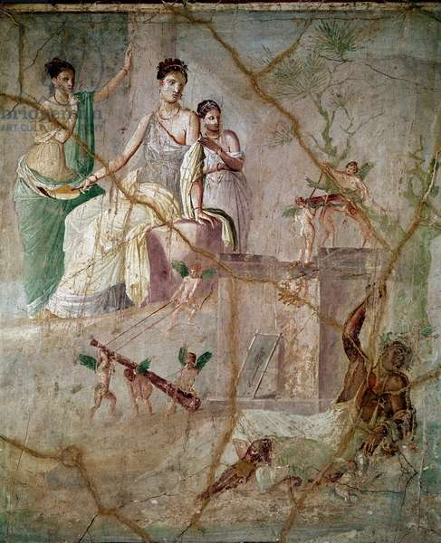 Heracles and Omphale (hercules and Omphale) Roman fresco of the 3rd Pompeian style from Pompeii (Fresco from Pompeii) 40-60 AD Dim 88x103 cm Conservated at the National Archaeological Museum of Naples Italy