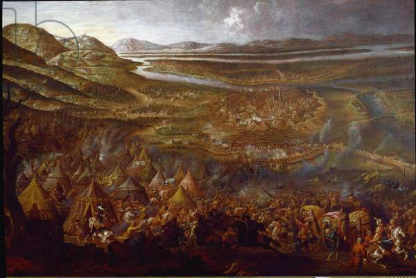 """Austro-Turkish War (Austro Turkish): """""""" View of the Battle of Vienna on 12/09/1683 on the hill of Kahlenberg"""""""" The Turkish armees are commanded by the Grand Vizir Kara Mustafa, against the Austrian and German armed forces. Anonymous painting. 17th century Vienna Historisches Museum der Stadt"""