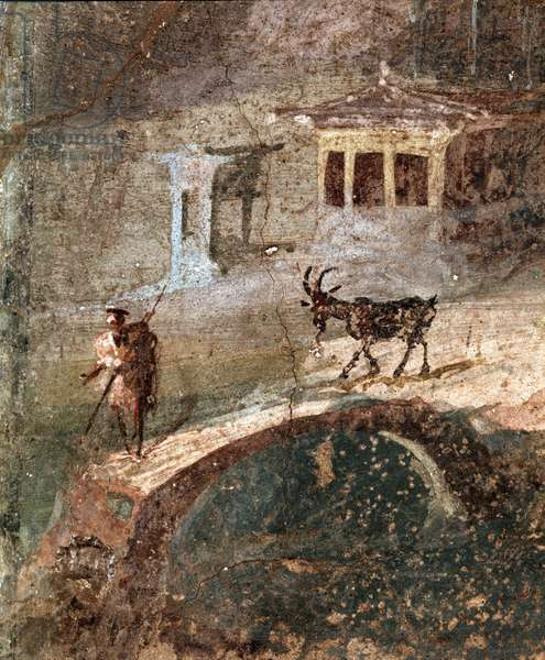 Roman art, landscape with sycomores, detail of a man with his goat fresco from Pompei, 1st century AD (fresco from Pompeii, 1st century AC) Naples, Museo Archeologico Nazionale, inv 9475