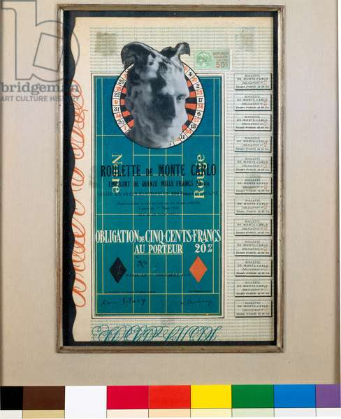 "Surrealism: """" Obligation for the Roulette de Monte-Carlo"""" Lithograph colors by Marcel Duchamp (1887-1968) 1924 Dim 31,5x19,5 cm From the Collection Schwarz - courtesy Mudima in Milan, Italy"