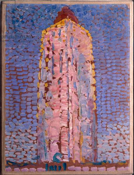The lighthouse of Westkapelle, Veere, Zelande (Lighthouse of Westkapelle, Netherlands) Painting by Piet Mondrian (1872-1944), 1909-1910 Dim 39x29 cm Milan museo del novecento