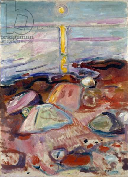 Moonlight on the Beach Painting by Edvard Munch (1863-1944) 1904-1905 Dim. 90x65 cm Oslo, Kommunes Kunstsamlinger