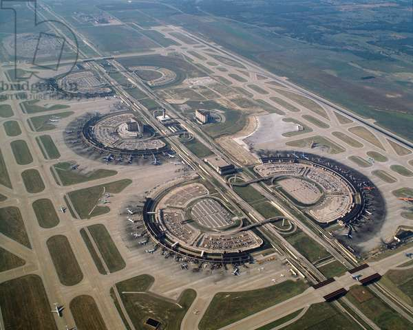 Air view of Dallas-Fort Worth Airport, Dallas, Texas, United States - 1988 - Aerial view of Dallas Fort-Worth airport, Dallas, Texas, USA, 1988 - Photography
