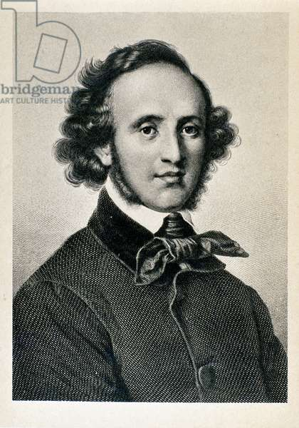 Portrait of Jakob Ludwig Felix Mendelssohn Bartholdy (1809-1847), German conductor and composer. Lithograph of the 19th century Biblioteca del Conservatorio Giuseppe Verdi, Milan ©Luisa Ricciarini/Leemage