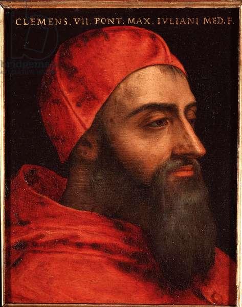Portrait of Pope Clement VII (Clemente) (Jules de medicis ou giulio de medici) (1478-1534) Painting by Allori Angelo di Cosimo dit Bronzino (1503-1572) - 16th century Dim 15x12 cm Palace Medici-Riccardi (Medici Riccardi) Florence