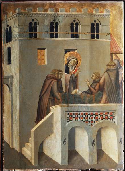 """Polyptych of the life of Beata Umilta (Polyptych of the life of Saint Humility): """""""" Saint Umilta (circa 1226-1310) miraculously warriors the foot of a monk"""""""" (The saint cures the foot of a monk) Detrempe on wood by Pietro Lorenzetti (1280-1348) 14th century Florence, Uffi Gallery (Uizffi)"""