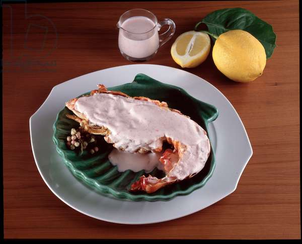 Food still life: Slipper lobster with coral sauce
