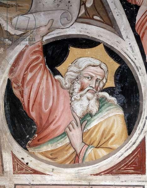 Prophete Figure Fresco of the 14th-15th century (Portrait of a prophet, frescoe, 14th-15th century) Sanctuary of the Sacro Speco, Subiaco, Italy