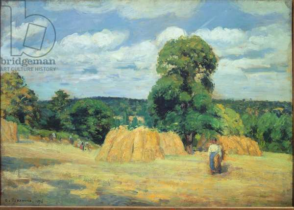 """The harvest in Montfoucault in Mayenne"""""""" Painting by Camille Pissarro (1830-1903) 1876 Sun. 0,65x0,92 m Paris, musee d'Orsay"""