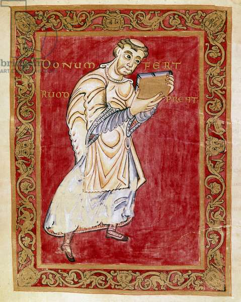 The monk Ruodprecht takes the manuscript to the arch Egbert de Treves (977-993) Miniature of the Codex of Egbert (Codex Egberti) by the school of Reichenau. Cividale del Friuli, Museo Archeologico or Cathedrale de Cividale