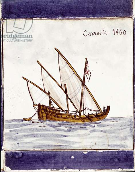 Representation of a caracteristic caravel of the Portuguese fleet Drawing on ceramic (azulejo) from Sagre - 1460 Lisbon, naval museum