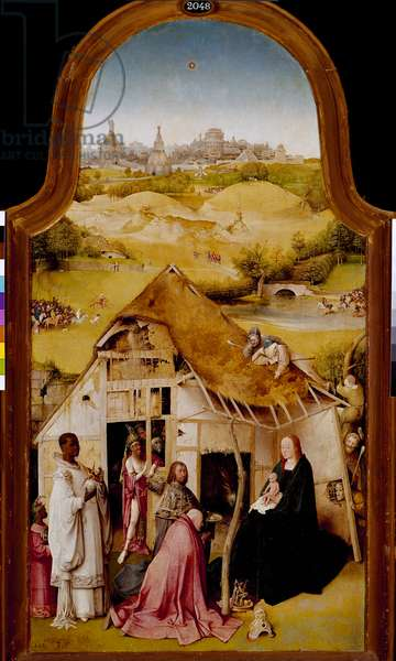 Adoration of the Magi Central panel of the triptych of the Epiphany. Painting by Hieronymus Van Aeken (Aken) dit Jerome Bosch (1450-1516). 1510-1511. Dim. 138x72 cm Madrid. Prado Museum.