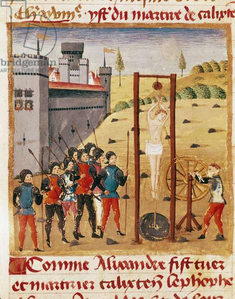 """King Alexander the Great (356-323 BC) attends the execution of the noble Calixten Cephobe by hanging"""""""""""" Miniature taken from """""""" Book of Facts of Alexander the Great"""""""""""" by Quintus Curtius Rufus (1st century) (ms 1335, fol. 167 v, 15th century - Reims, Municipal Library"""